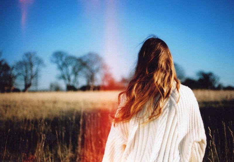 Memories✨ EyeEm Nature Lover Focus Blue Sky Photography Beautiful Blue Tranquility Tranquil Scene One Person Adult Nature Women Sky Landscape Young Adult Human Hair Plant Rural Scene Brown Hair Environment Outdoors Field Summer Exploratorium EyeEmNewHere