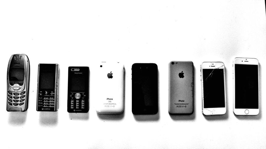Mobile Conversations White Background Technology No People Indoors  Day Mobile Mobile Phone Mobile Phone Photography Apple Mobilephotography Mobile Communications Vintage Phone Vintage Blackandwhite Black & White Blackandwhite Photography Black And White Photography Communication Modern Communication Mobile Conversations