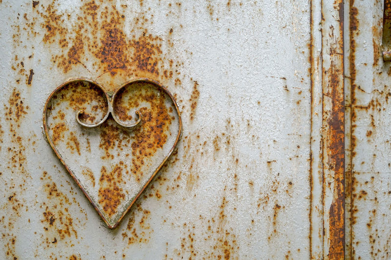 Close-up of heart shape on metal gate