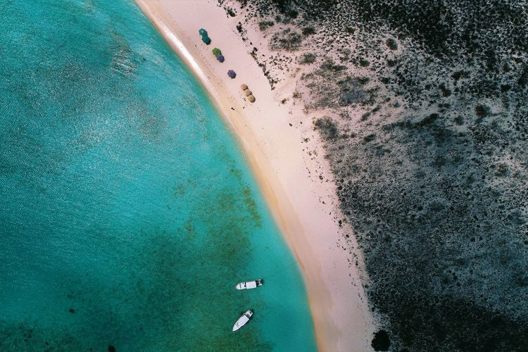 Aerial view of island and beach in los roques, venezuela