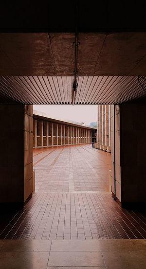 View of street seen through door