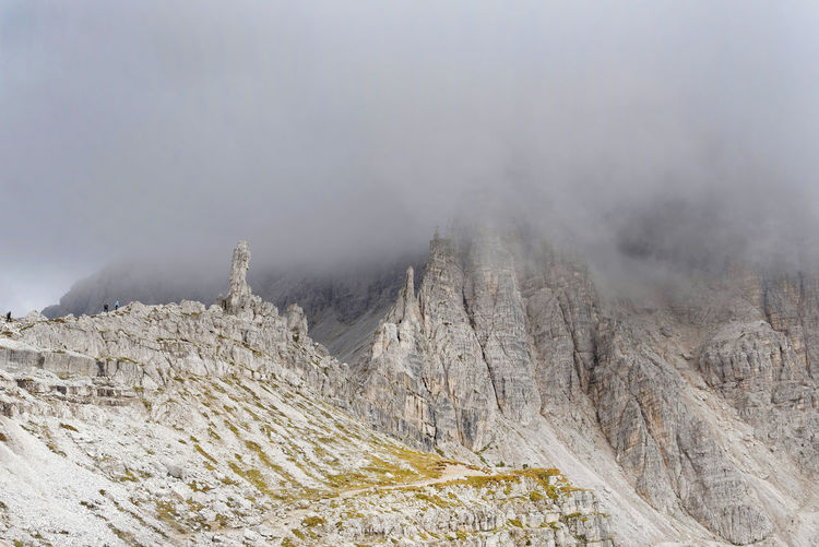 Autumn Beauty In Nature Clouds And Sky Day Dolomites, Italy Europe Fog Foggy Weather Landscape Mountain Nature No People Outdoors Physical Geography Rocks Sand Scenics Sky Smoke - Physical Structure Tourism Tourist Attraction  Tranquility Tre Cime Di Lavaredo