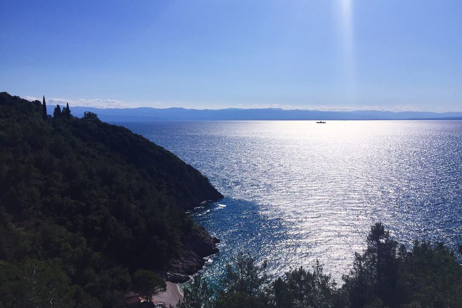 Sea Coast Sea And Sky Mountain View Beautiful Nature Landscape Sunlight Water Reflections Boat Blue Sky From Vienna To Milan