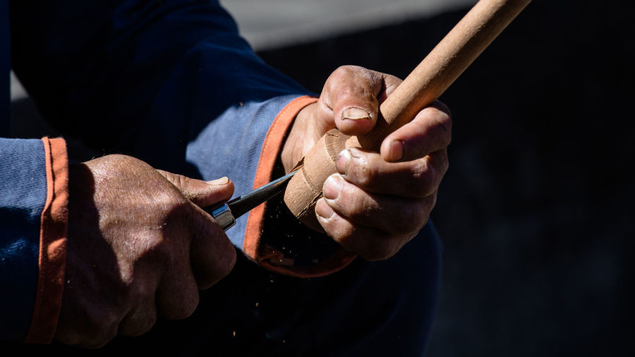 Close up of man doing some wood craft. Art And Craft Close-up Craft Focus On Foreground Handmade Holding Human Hand Men Occupation Old One Person Preparation  Skill  Tool Traditional Wood - Material