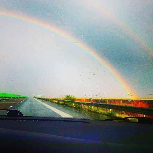 Rainbow Rain Rainbows ⛔Highway↗Autobahn🚳 Freeway First Eyeem Photo Double Rainbow