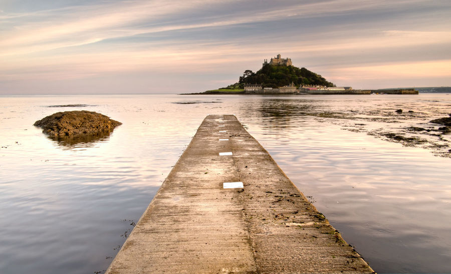 Architecture Beauty In Nature Built Structure Cloud - Sky Cornwall Day Nature No People Outdoors Pier Reflection Scenics Sea Sky St Michaels Mount Sunset Sunset_collection Tranquility Water