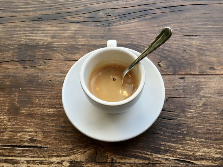 Espresso Close-up Day Drink Food And Drink Freshness High Angle View Indoors  No People Refreshment Saucer Table Wood - Material
