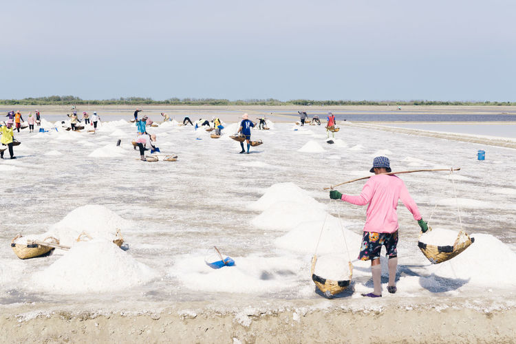 Day Outdoors Pastel Pastel Power People Real People Salt Salt Farm Salt Farmer Salt Field Sea Sky Thailand Travel Water Work Working Hard