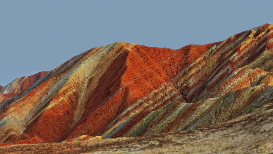 0912 sandstone and siltstone landforms of zhangye danxia-red cloud national geological park-china.