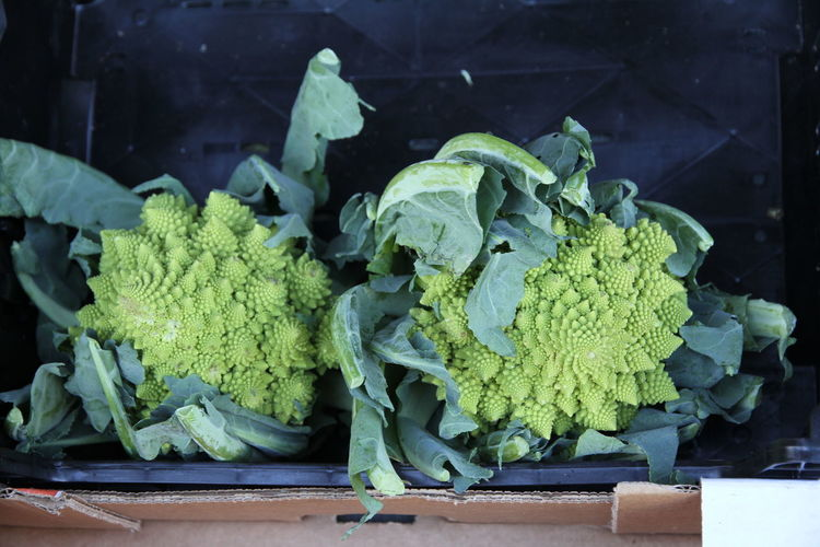 High Angle View Of Romanesco Cauliflowers In Crate For Sale At Market