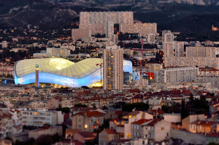 Early Evening in Marseille City Cityscape France Marseille Marseille, France Tilt-shift Aerial View Europe Evening High Angle View Illuminated Outdoors Urban