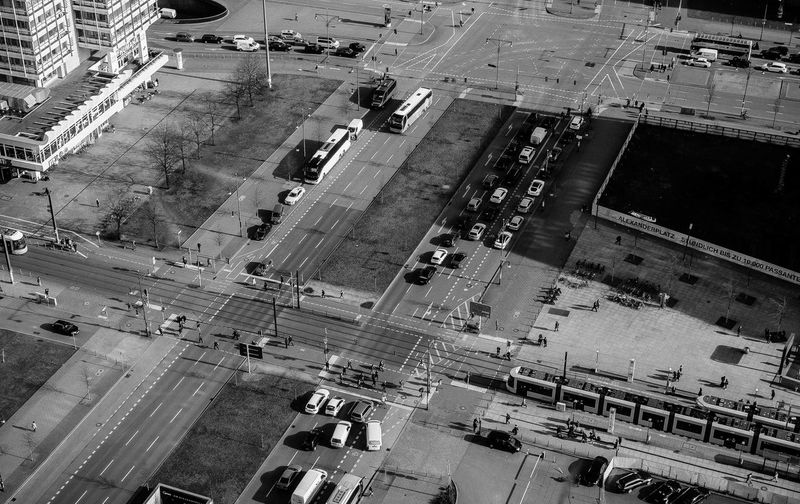 Aerial View Of Traffic On Street In City