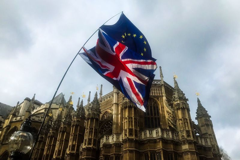 Anti Brexit flags outside Houses of Parliament Flag Patriotism Low Angle View Sky Cloud - Sky Building Exterior Architecture Built Structure City Freedom Outdoors