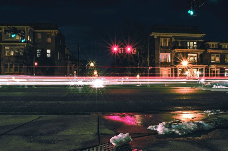 Light Trails In City At Night