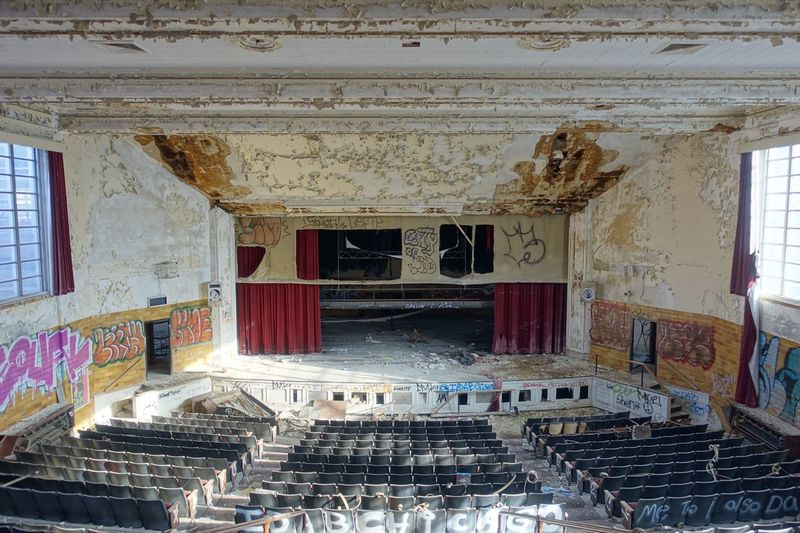 Auditorium in the abandoned Horace Mann High School in Gary, Indiana Abandoned Abandoned & Derelict Abandoned America Abandoned Auditorium Abandoned Building Abandoned Buildings Abandoned Gary Indiana Abandoned Indiana Abandoned Places Abandoned School Abandoned Theater Auditorium Decay Decaying Structure Gary Indiana Horace Mann Indiana Manufacturing Belt MidWest Rust Belt School Auditorium Stage Theater Urban Decay Urban Exploration