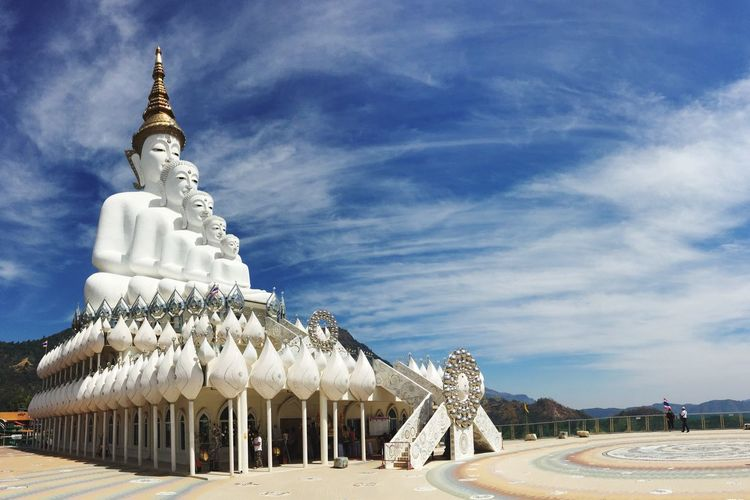 Religion Architecture Built Structure Spirituality Sky Place Of Worship Building Exterior Cloud - Sky Outdoors Travel Destinations Low Angle View Day Tree No People Thailand Spirituality Buddha Temple Tourism