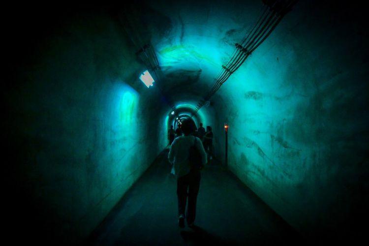来る。 One Person Indoors  Full Length Lighting Equipment Standing Illuminated Underwater Architecture Dark Blue Tunnel Green Color