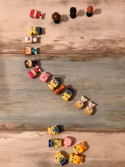 Minions Wood - Material Indoors  IPhoneX Timetoplay Minions Artistic Expression EyeEm Best Shots Bestoftheday EyeEm Best Edits Multi Colored Large Group Of Objects High Angle View Leisure Activity Childhood Creativity Toy