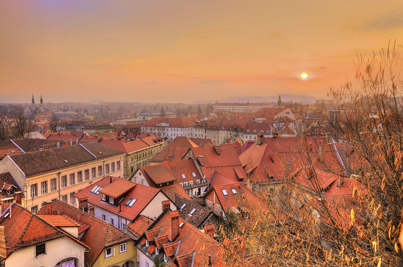 Architecture Beutiful  Beutiful Day Building Exterior Built Structure Capital Cities  Central Europe City Colorful Colors Dusk Europe Green Green Capital Of Europe 2016 Ljubljana Ljubljana Castle Ljubljana, Slovenia Nice View Old Town Roof Sky Slovenia Sunset The City The City Light