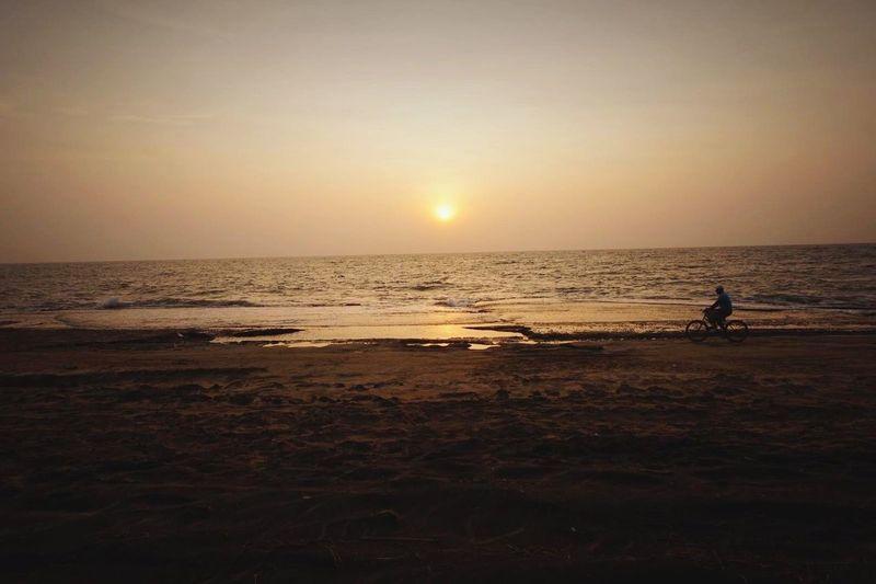 Sri Lanka Negombo Beach Sunset Bicycle Peaceful