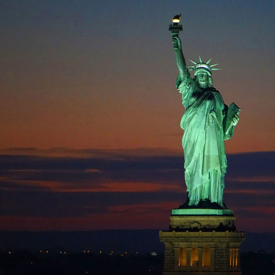 Freedom Freiheitsstatue Gateway Gateway To Freedom Historical Monuments lLady Liberty yLandmark kLandscapes With WhiteWall lNational Monument tNew Life & New Hope eNew York yNYC Harbour rNYC Photography yPort Of Entry yStatue ySunset Square Format Battle Of The Cities