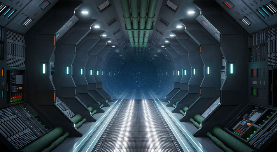 Interior of illuminated underground lights