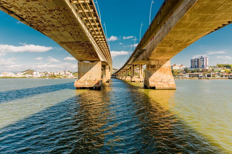 Connection Built Structure Engineering Water Transportation River Bridge Low Angle View Cloud Day Architecture
