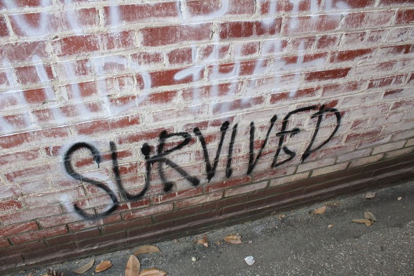 Survived! Survivor Graffiti Letters Word Spray Paint Back Alley Back Alleys Alleyway Rogers, Arkansas
