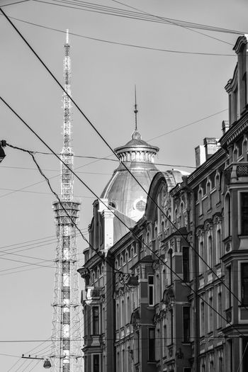 Petrograd side, Saint Petersburg, Russia Architecture Built Structure Cable Building Exterior Electricity  Power Line  Connection Building Sky Low Angle View No People Technology City Day Tower Outdoors Saint Petersburg Russia Petrograd Side