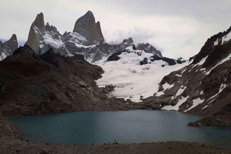 Laguna De Los Tres Fitz Roy Mountain Snow Cold Temperature Beauty In Nature Water Scenics - Nature Winter Sky Tranquil Scene Tranquility Mountain Range Snowcapped Mountain Non-urban Scene Nature No People Environment Landscape Rock Mountain Peak Ice Formation Height Trekking