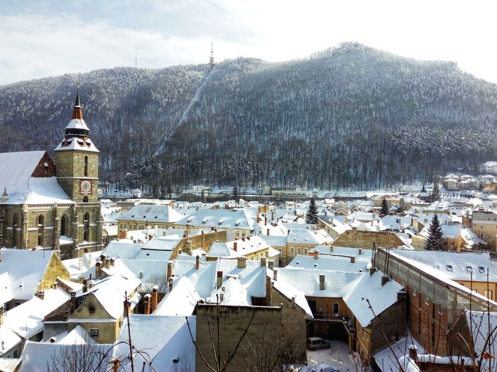 High angle view of houses in town during winter