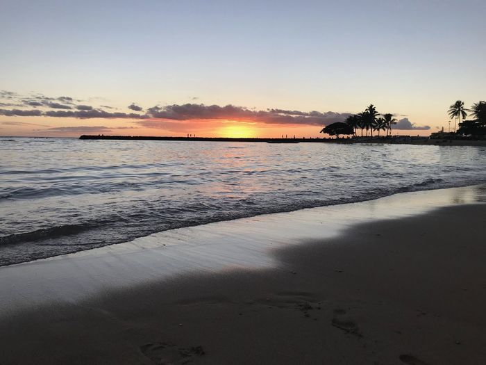 Hawaii Waikiki Copy Space Copyspace No People Orange Color Sunset Clear Sky Dusk Horizon Over Water Sandy Beach Coastline Sunset Silhouettes Calm Water Palm Tree Island Sun Rays Beauty In Nature Tranquil Scene Outdoors Land Ocean View Tropical Tropical Climate Honolulu