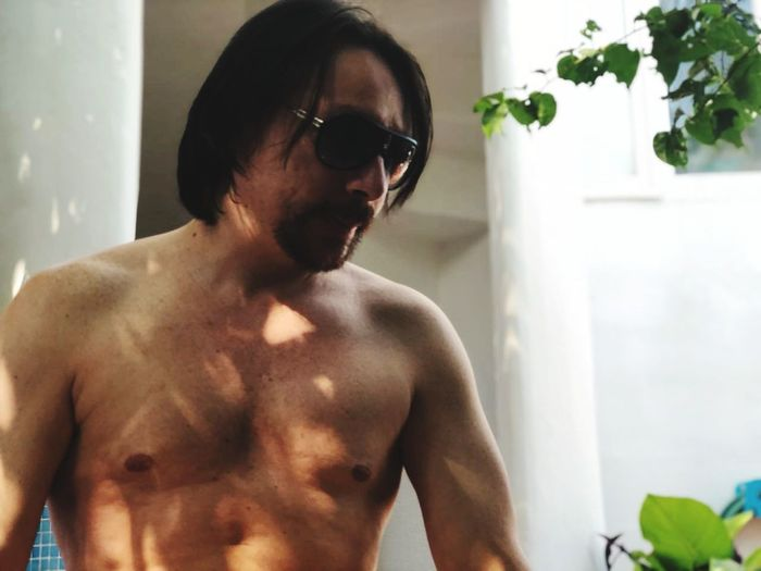 Domestic Room Body Care Shirtless Domestic Life Muscular Build Bathroom Men Domestic Bathroom