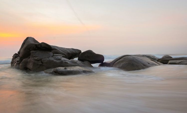 Morning Water Sea Sky Sunset Scenics - Nature Beauty In Nature Horizon Over Water Rock Beach Land Solid Horizon Rock - Object Tranquil Scene Nature Tranquility Cloud - Sky Idyllic Orange Color No People