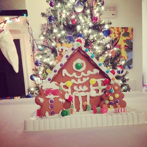 We built a gingerbread house. Christmasevefun