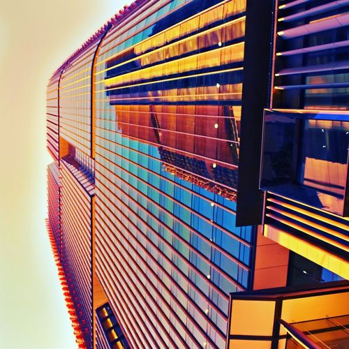 Geometric reflection EyeEm Lookingup Outdoors EyeEm Gallery Picoftheday Photooftheday Colours Photography Architecture Built Structure Low Angle View No People Building Exterior Sky Railing Nature Building Outdoors Modern Day Multi Colored Sunlight Staircase Pattern Illuminated Transportation Metal