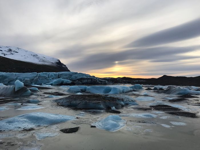 Nature Beauty In Nature Tranquility Tranquil Scene Iceland Glacier Ice Blue Ice Melting Sunset Cloud - Sky Magic Moments Wonderful Precious Water