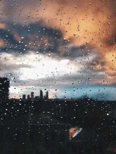 After the storm Epic Spring Spring Storms Window Wet Glass - Material Transparent Drop Rain Sky Cloud - Sky Sunset Close-up Rainy Season City No People RainDrop Water Nature Glass