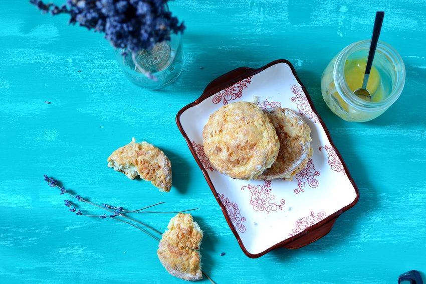 Apple and cheddar cheese scones, lemon curd, dried lavender flowers Wooden Tabletop Appetizer Bright Colors Baked Food Photography Scones Traditional Food Lemon Curd Freshly Baked Dried Flowers Home Food Sweet Food Dessert Foodphotography Home Baked Blue Visual Feast BYOPaper! Food Stories
