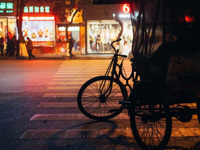 Bicycle China City Illuminated Land Vehicle Neon Night No People Outdoors Rick Stationary Transportation