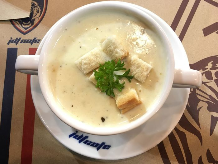 Mushroom soup Food And Drink Soup Food Indoors  Healthy Eating Table Serving Size Ready-to-eat High Angle View Freshness No People Plate Bowl Soup Bowl Close-up Drink