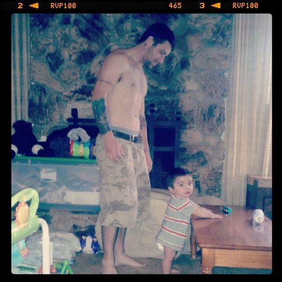Daddy bein paranoid... I love him:) Fatherandsonmoments Babins MyMen Myeverythings myking and myprince