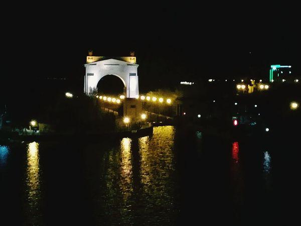 Night Illuminated Reflection Architecture City No People Water River History Volga River Like