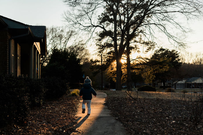 Toddler Running Along Sidewalk at Golden Hour Children Front Yard Lifestyle Running Sidewalk Twilight Winter Child Childhood Cold Evening Fall Full Length Golden Hour House Kid Lifestyles One Person Outdoors People Real People Rear View Sunset Toddler  Walking
