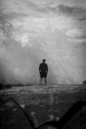 Portrait Of A Friend at the Sea. Blackandwhite Vanishing Point