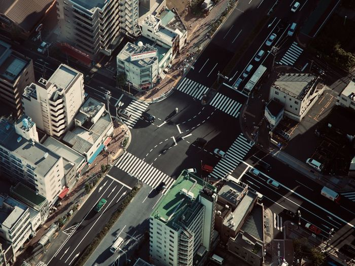 High angle view of street amidst buildings in tokyo