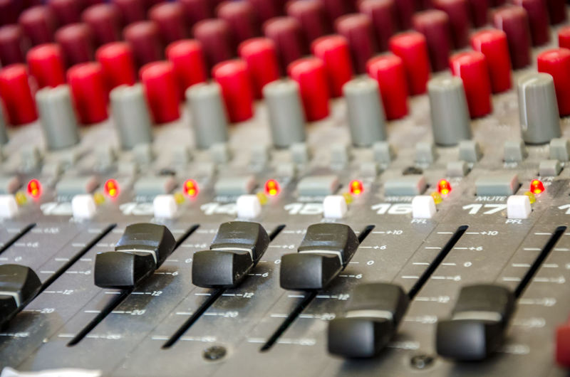Arts Culture And Entertainment Built Structure Buttons Channels Close-up Control Panel Controls Dials Full Frame Indoors  LEDs Level Mixing Mixing Desk Music No People Radio Station Recording Studio Sliders Sound Desk Sound Mixer Sound Recording Equipment Studio Switches Technology