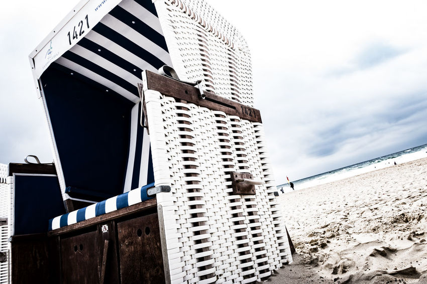 beach chair Architecture Beach Beach Chair Close Up Building Exterior Built Structure Day Island Low Angle View No People Northsea Outdoors Sand Schleswig-Holstein Sky Sky And Clouds Sylt, Germany