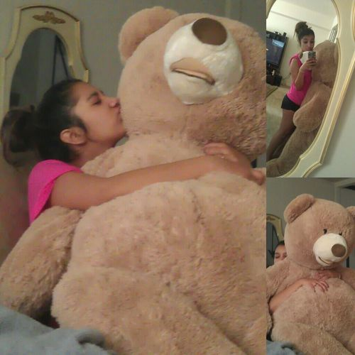 This Teddy Bear Is The Biggest One I Saw In My Life, 'Same Size as me & Its Weellly Fluffy, ' ♡