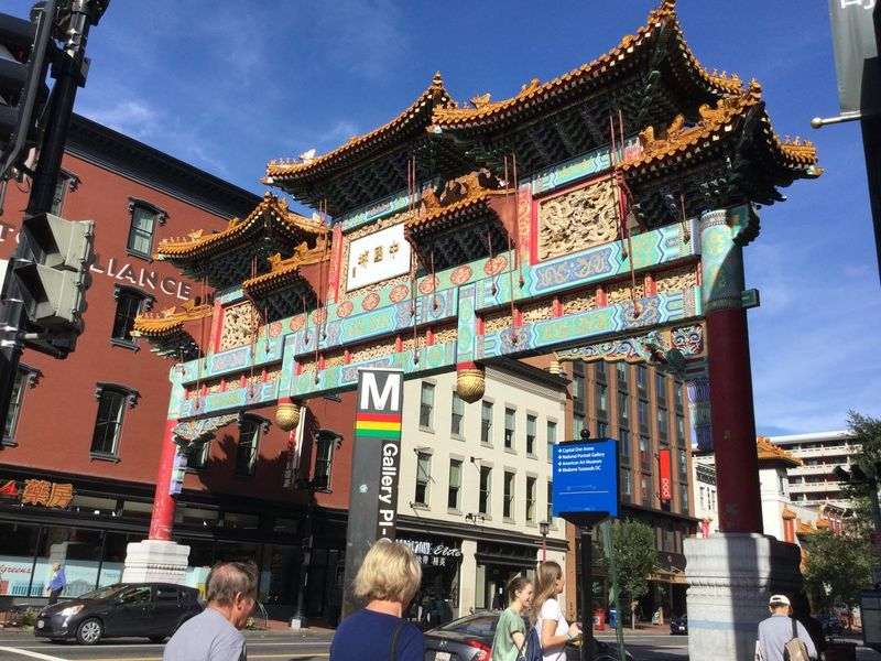A gate at Chinatown in Washington D.C. Chinatown Chinese Gate Exterior Washington, D. C. Architecture Built Structure City people and places Travel Travel Destinations First Eyeem Photo